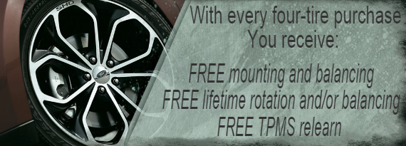 Free Mounting, Balancing, Rotation, and TPMS with Purchase of 4 Tires